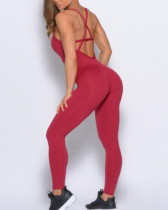 Criss Cross Cut Out Back Sports Jumpsuit gallery 19