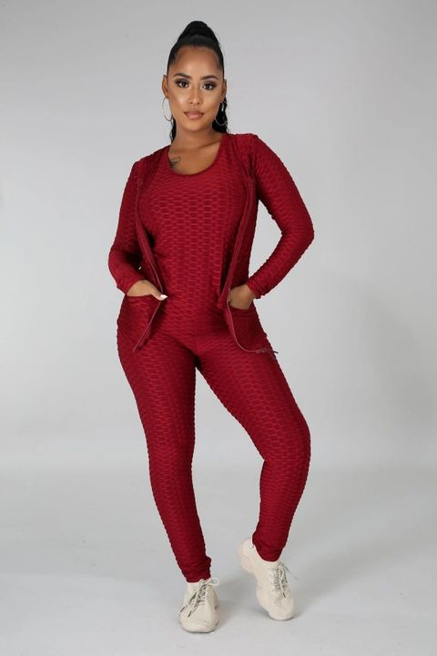 Textured Dual Pocket Ruched 3 Piece Set gallery 15