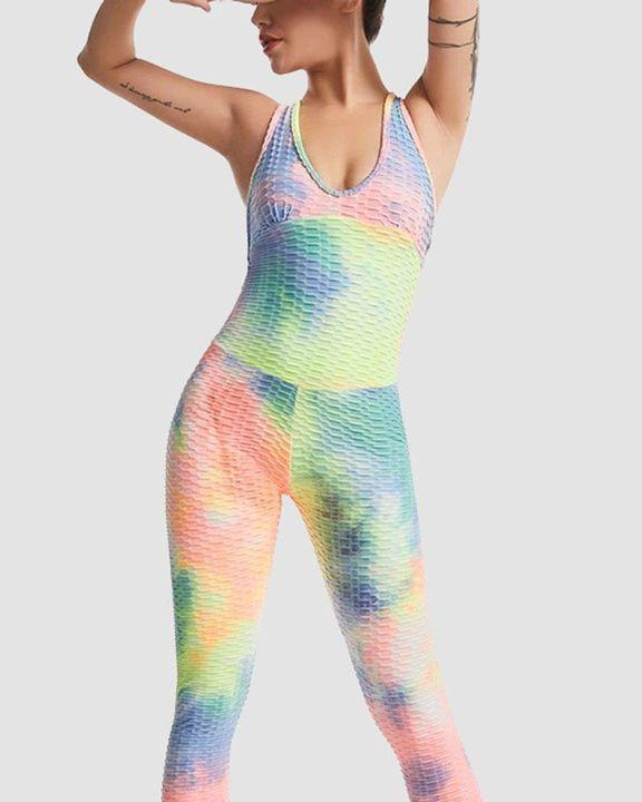 Tie Dye Textured Sleeveless Bodycon Sports Jumpsuit gallery 2