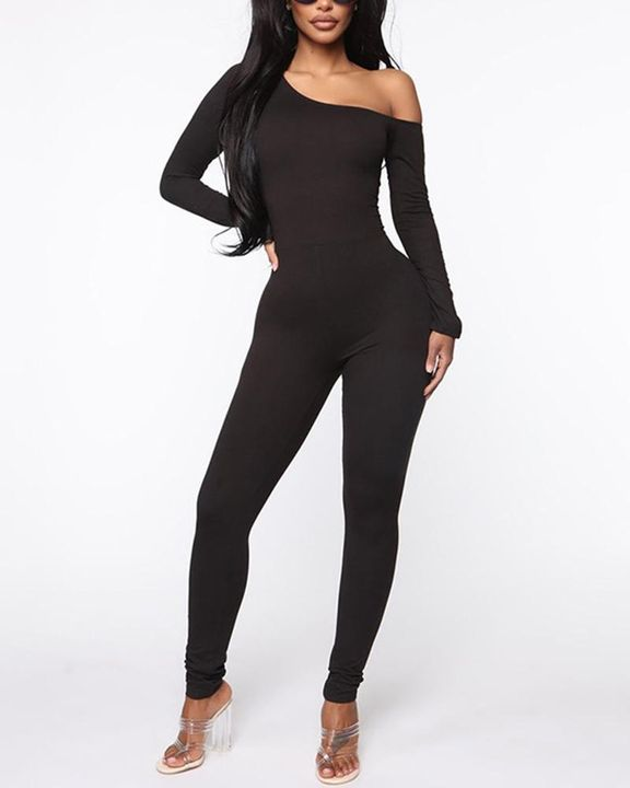 Solid Boat Neck Long Sleeve Sports Jumpsuit gallery 2