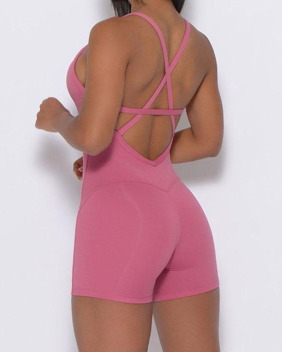 Solid Criss Cross Backless Cami Sports Romper gallery 6
