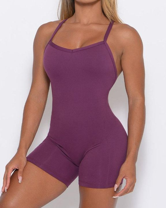 Solid Criss Cross Backless Cami Sports Romper gallery 10