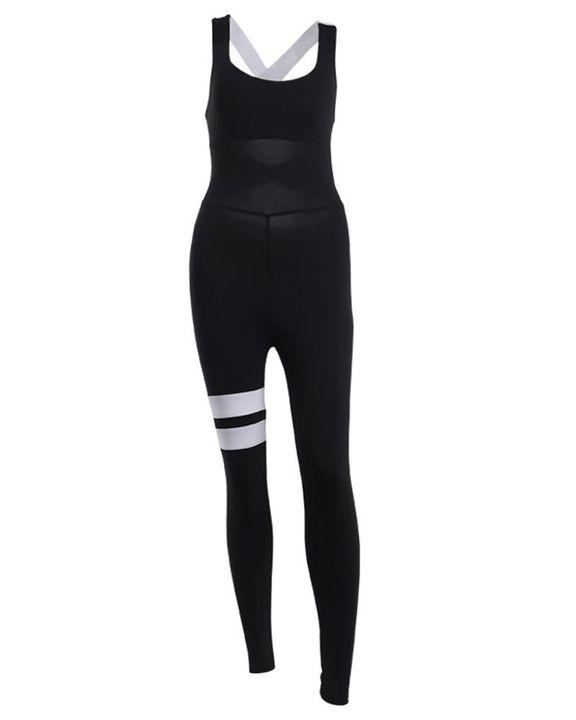 Colorblock Criss Cross Corset Sports Jumpsuit gallery 7