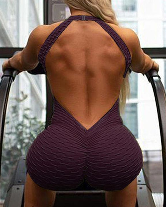 Solid Textured Cutout Back Scrunch Butt Buckle Linked Sports Romper gallery 9