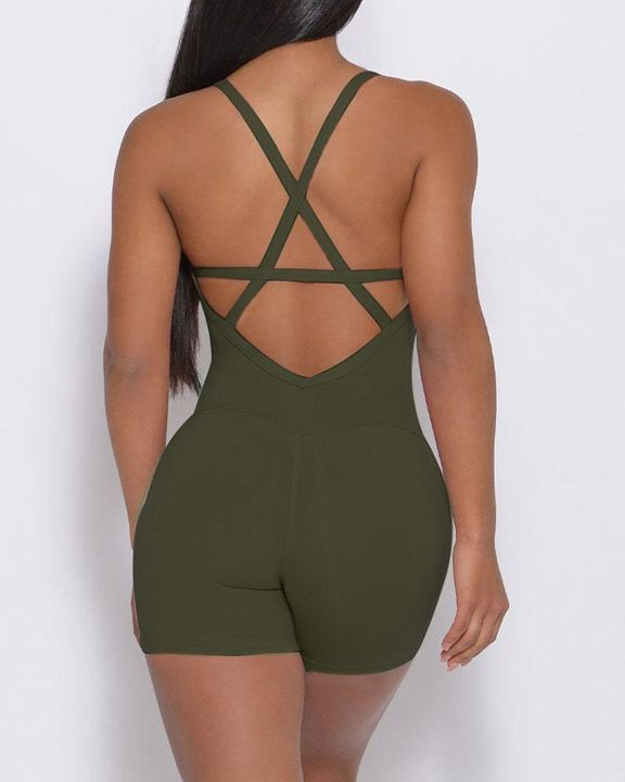 Solid Criss Cross Backless Cami Sports Romper gallery 5