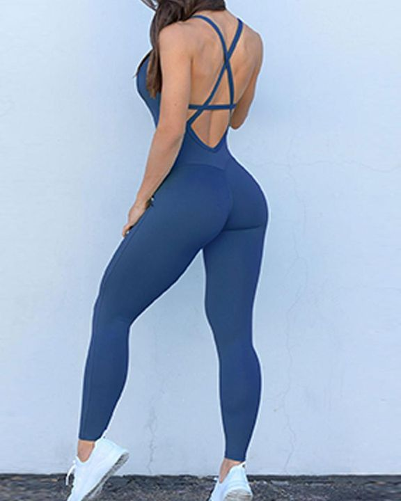 Criss Cross Cut Out Back Sports Jumpsuit gallery 4