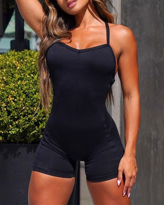 Solid Criss Cross Backless Cami Sports Romper gallery 1