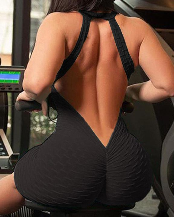 Solid Textured Cutout Back Scrunch Butt Buckle Linked Sports Romper gallery 8