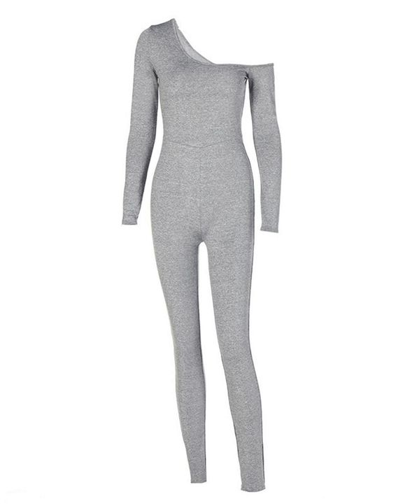 Solid Boat Neck Long Sleeve Sports Jumpsuit gallery 5