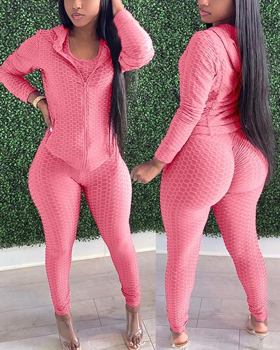 Textured Dual Pocket Ruched 3 Piece Set gallery 2