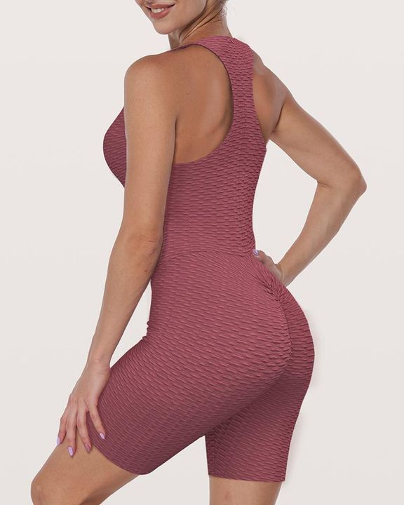 Solid Textured Ruched Form Fitting Romper gallery 1