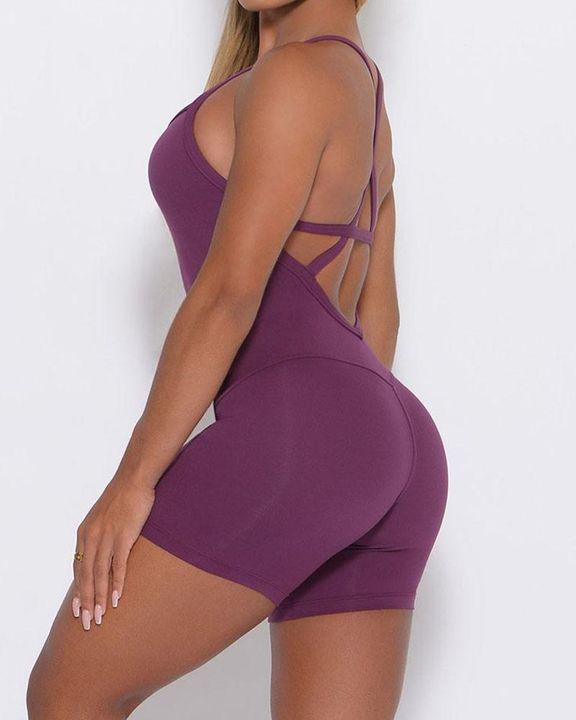 Solid Criss Cross Backless Cami Sports Romper gallery 11