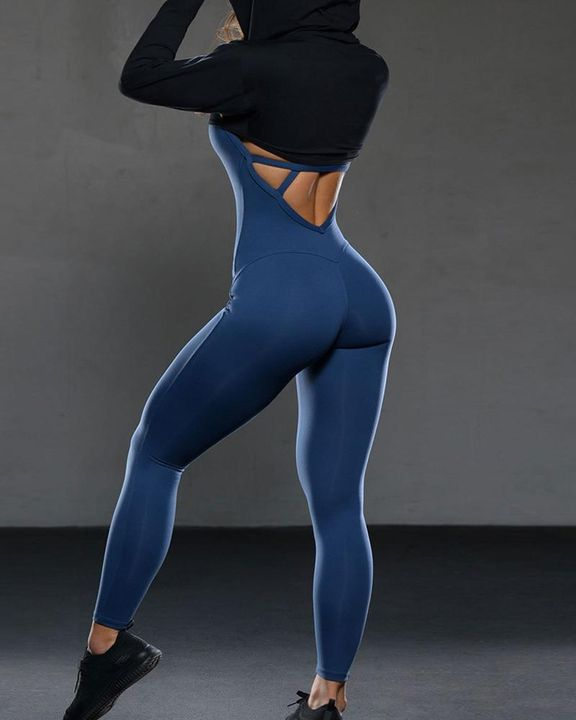 Criss Cross Cut Out Back Sports Jumpsuit gallery 15