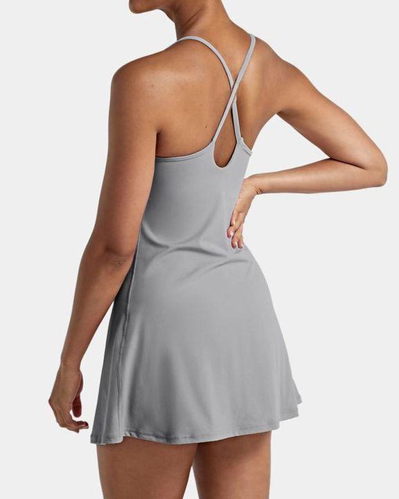 Solid Pocket Inside Cami Sports Dress gallery 6