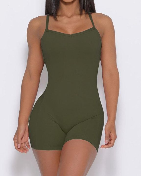 Solid Criss Cross Backless Cami Sports Romper gallery 15