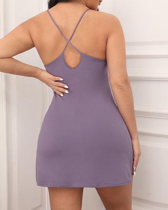 Solid Pocket Inside Cami Sports Dress gallery 13