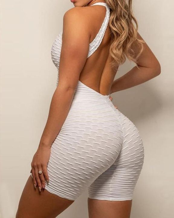 Solid Textured Cutout Back Scrunch Butt Buckle Linked Sports Romper gallery 10
