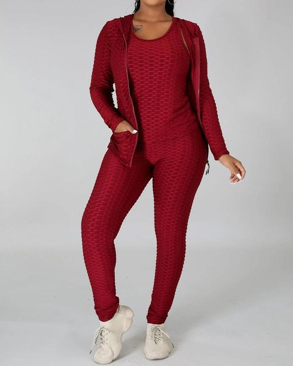Textured Dual Pocket Ruched 3 Piece Set gallery 4