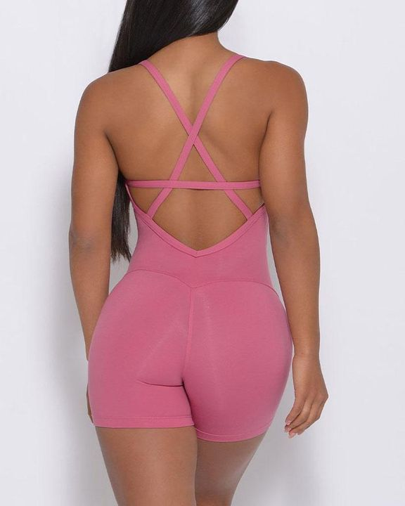 Solid Criss Cross Backless Cami Sports Romper gallery 7