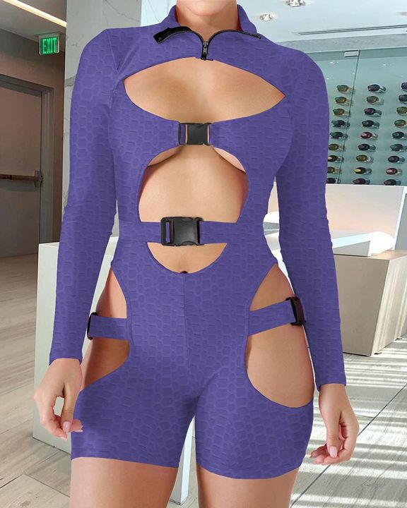 Textured Belted Cut Out Zip Up Sports Romper gallery 4