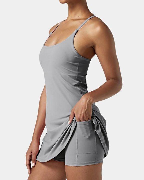 Solid Pocket Inside Cami Sports Dress gallery 2