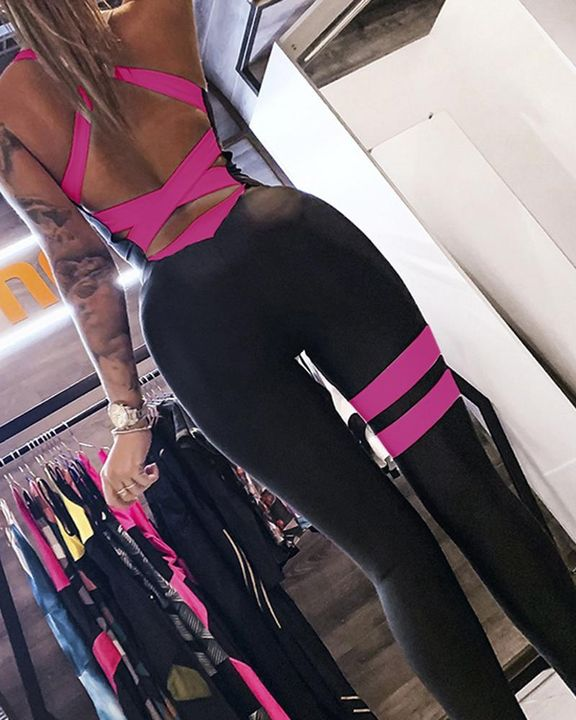 Colorblock Criss Cross Corset Sports Jumpsuit gallery 3