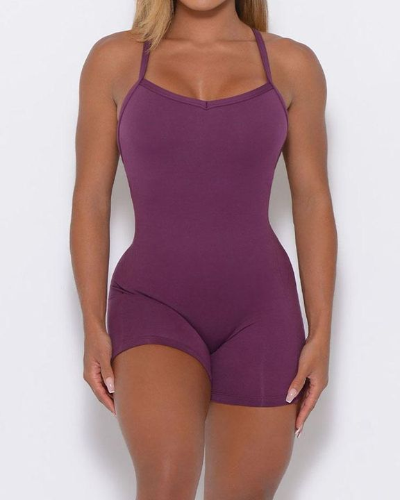Solid Criss Cross Backless Cami Sports Romper gallery 9