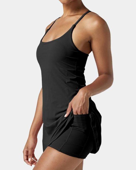 Solid Pocket Inside Cami Sports Dress gallery 4