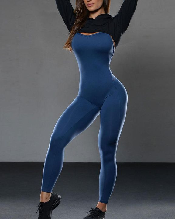 Criss Cross Cut Out Back Sports Jumpsuit gallery 18