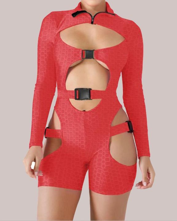 Textured Belted Cut Out Zip Up Sports Romper gallery 5