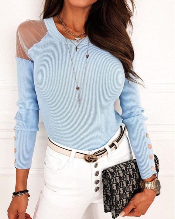 Solid Studded Button Ribbed Mesh Cold Shoulder Sweater gallery 3