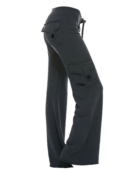 Solid Button Flap Pocket Drawstring Wide Leg Pants gallery 4