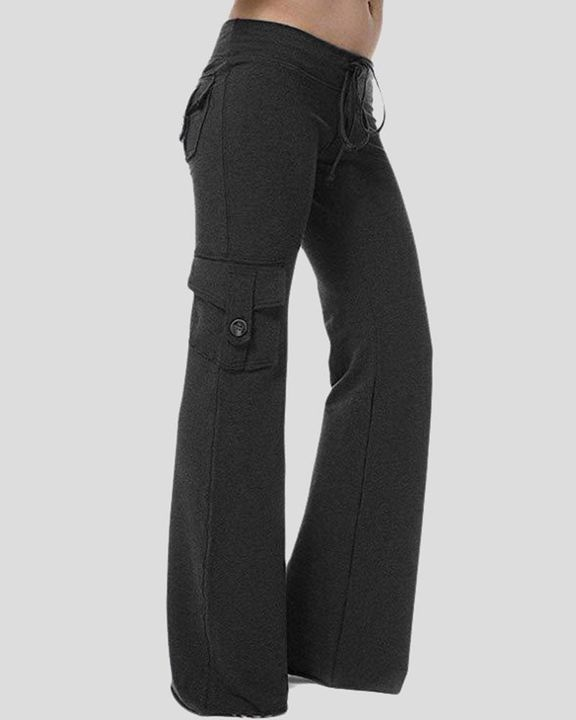 Solid Button Flap Pocket Drawstring Wide Leg Pants gallery 2