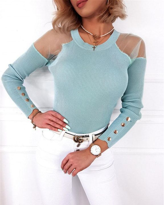 Solid Studded Button Ribbed Mesh Cold Shoulder Sweater gallery 1