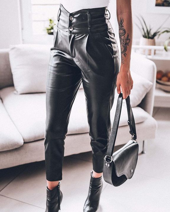 Button Front V Wired Wide Waistband PU Pants gallery 1