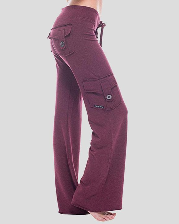 Solid Button Flap Pocket Drawstring Wide Leg Pants gallery 1