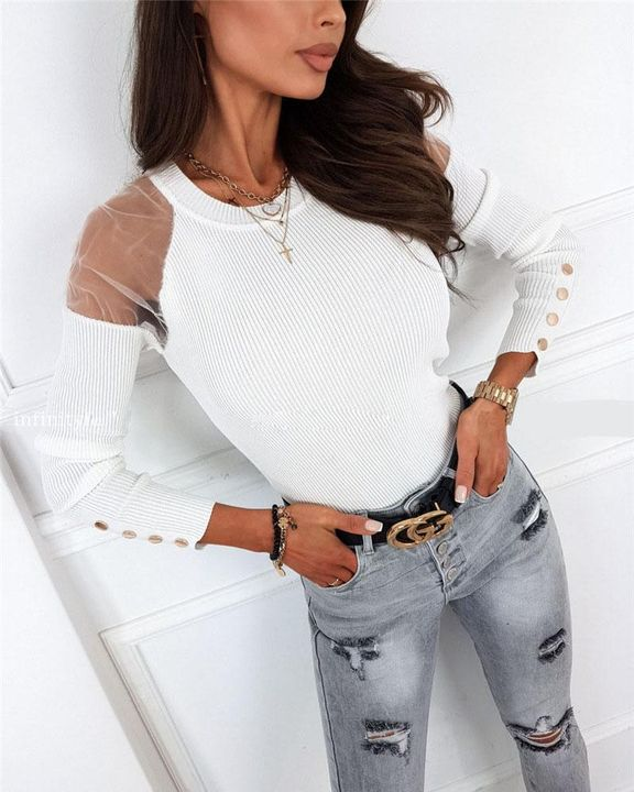 Solid Studded Button Ribbed Mesh Cold Shoulder Sweater gallery 4