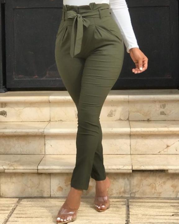 Solid Belt Tie Paperbag Waist Skinny Pants gallery 1