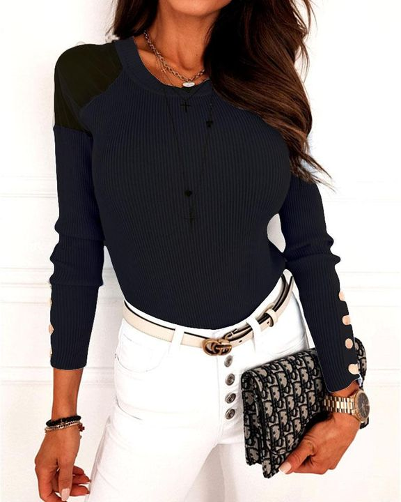 Solid Studded Button Ribbed Mesh Cold Shoulder Sweater gallery 2