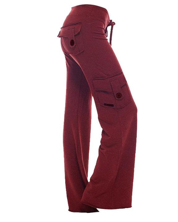Solid Button Flap Pocket Drawstring Wide Leg Pants gallery 3