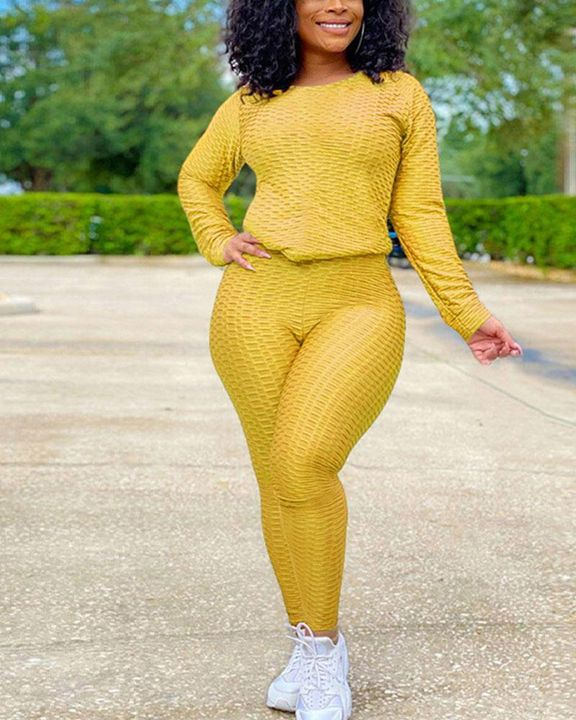 Solid Textured Long Sleeve Round Neck Top & Pants Set gallery 10