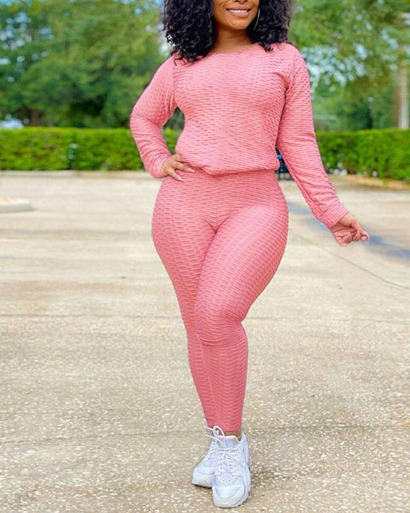 Solid Textured Long Sleeve Round Neck Top & Pants Set gallery 8