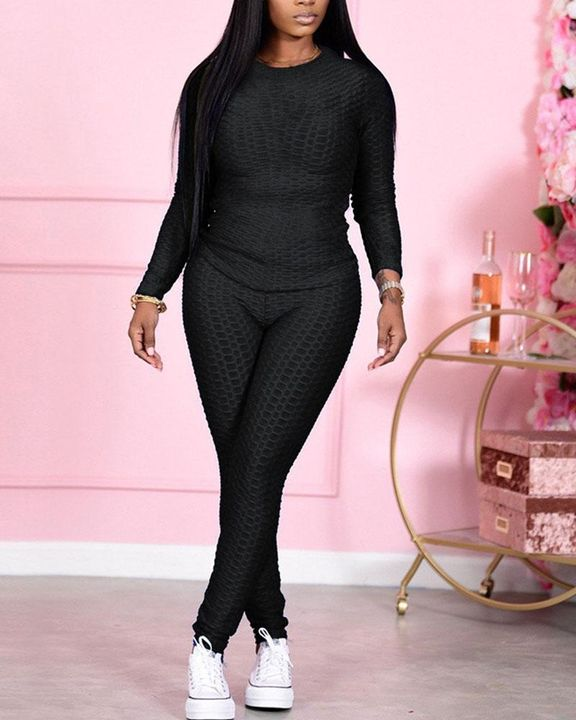 Solid Textured Long Sleeve Round Neck Top & Pants Set gallery 4