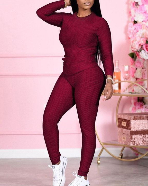 Solid Textured Long Sleeve Round Neck Top & Pants Set gallery 1