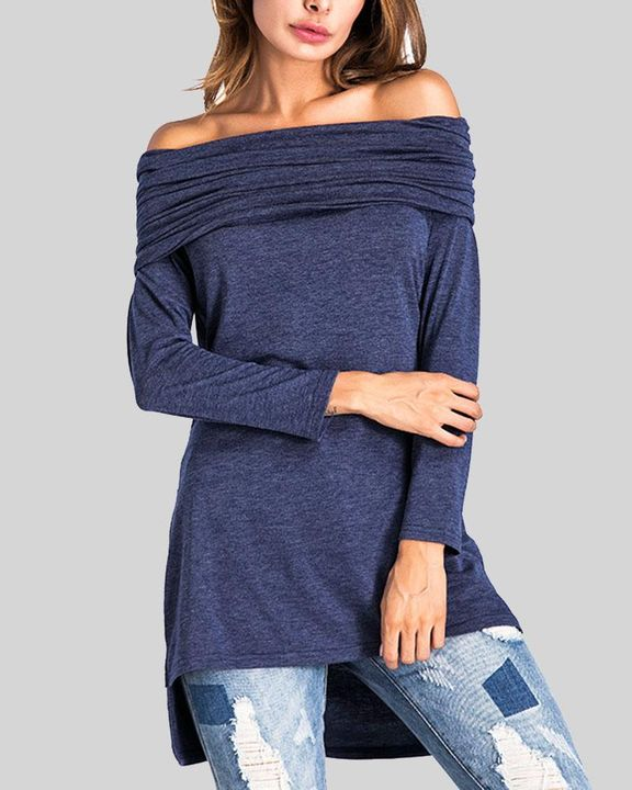 Off Shoulder High Low Sweater gallery 1
