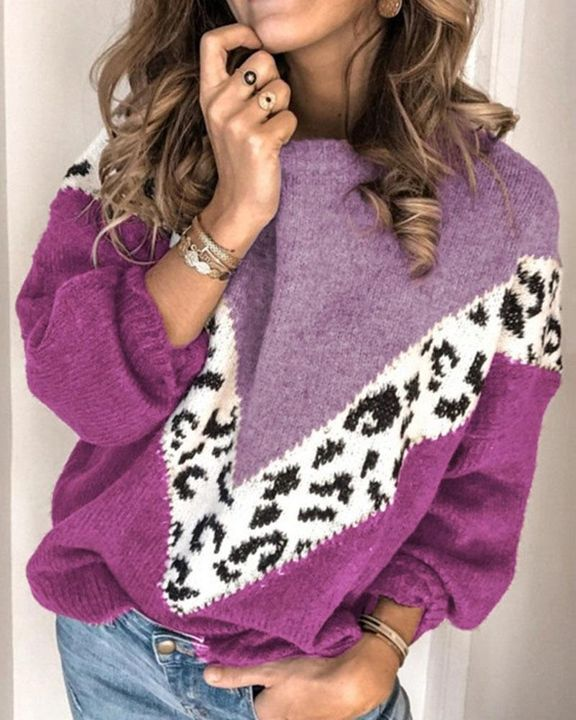 Cheetah Panel Colorblock Drop Shoulder Sweater  gallery 3