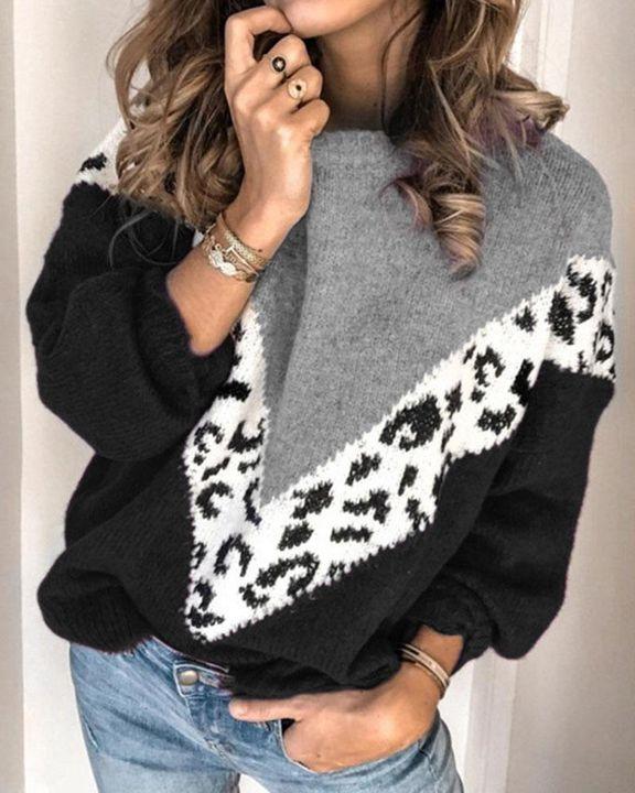 Cheetah Panel Colorblock Drop Shoulder Sweater  gallery 2