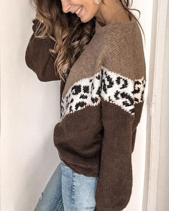 Cheetah Panel Colorblock Drop Shoulder Sweater  gallery 4