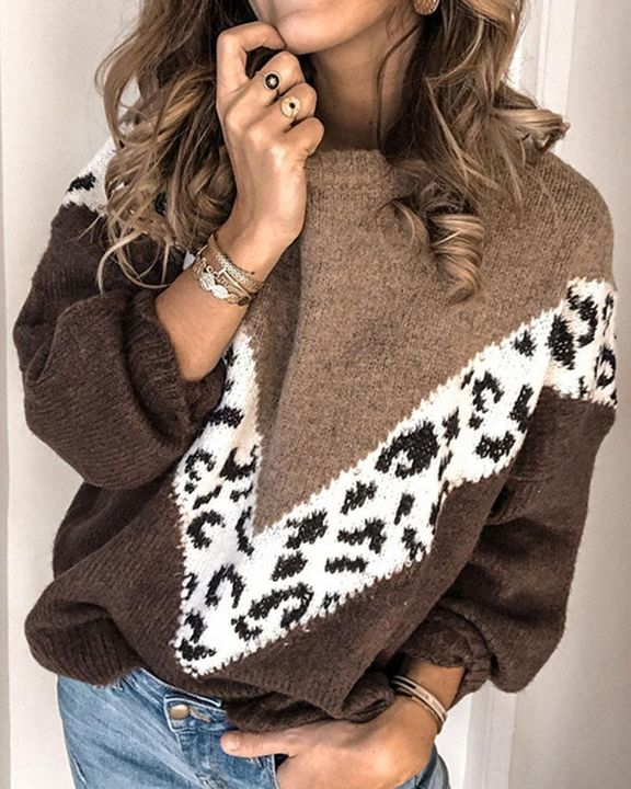 Cheetah Panel Colorblock Drop Shoulder Sweater  gallery 1