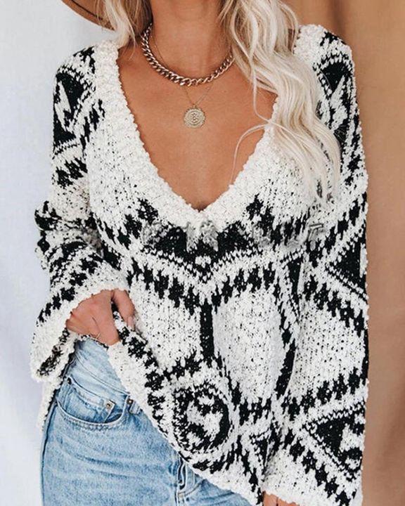 Chunky Knit V Neck Drop Shoulder Sweater gallery 2